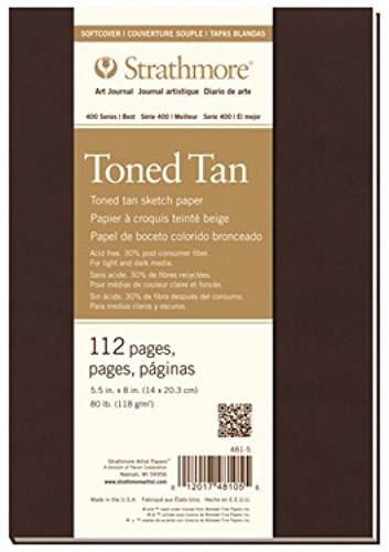Strathmore 481-7 400 Series Softcover Toned Tan Art Sketch Journal, 7.75