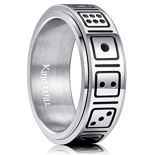 King Will 8mm Mens Titanium Wedding Band Dice Pattern Spinner Ring 11