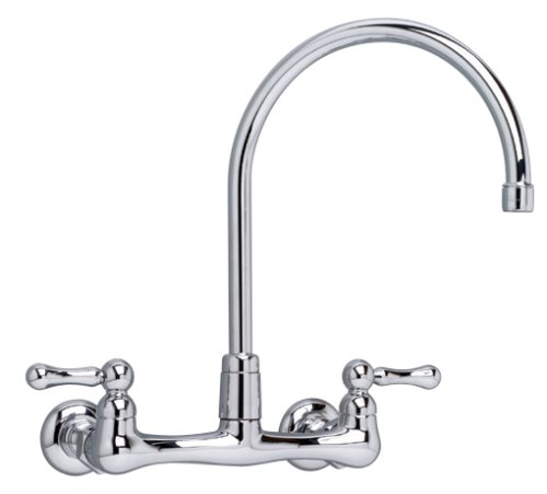 American Standard 7293.152.002 Heritage Wall-Mount 12-Inch Swivel Spout Kitchen Faucet with Metal Lever Handles, Chrome