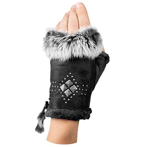 Snoozies Fingerless Faux Rabbit Fur Pom-Pom Fashion Gloves - Diamond Black