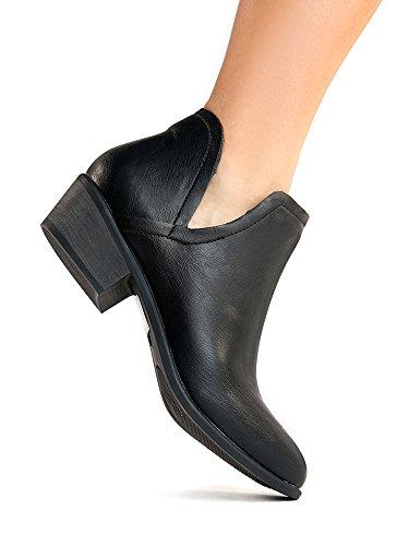 ZooShoo Cute Western Cowboy Bootie - Damen Spitzschuh Ankle Boot - Reißverschluss Low Heel - Levi von J. Adams Schwarz Pu *