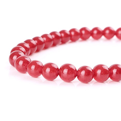 Mallofusa Jade Gemstone Loose Beads Round 4mm Crystal Energy Stone Healing Power for Bracelets Jewelry Making Best Gift Idea - Ruby - Bracelet Beads Jade Round