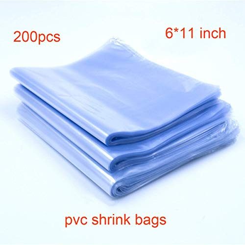 200pcs 6x11'' Shrink Bags, Soeland Shrink Wrap Bags Heat Seal PVC Film 100 Ga for Soaps, Bath Bombs, Bottles, Crafts, Shoes & DIY(Best Shrink Rate)