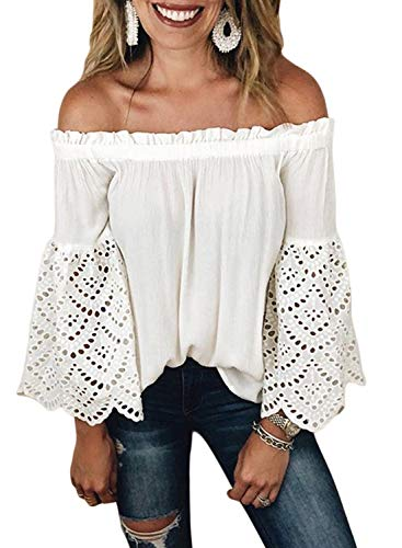 Asvivid Womens Fashion Off The Shoulder Bell Long Sleeve Tops Hollow Out Shirring Tee Shirt Blouses Plus Size 1X White ()