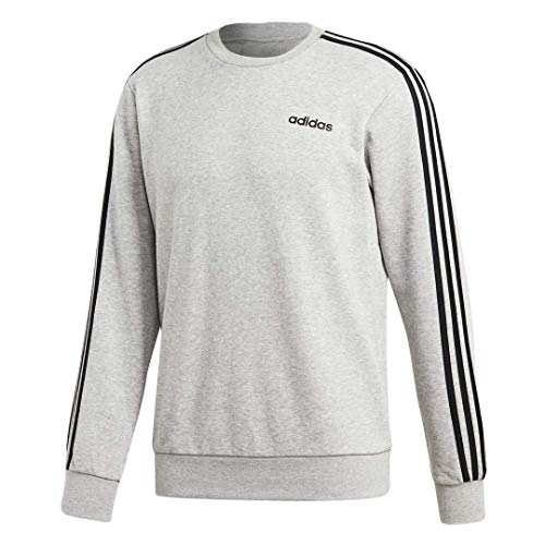 adidas Essentials 3-Stripes Fleece Crew Sweatshirt French Terry Long Sleeve Sweatshirts (Large, Heather Grey/Black) ()