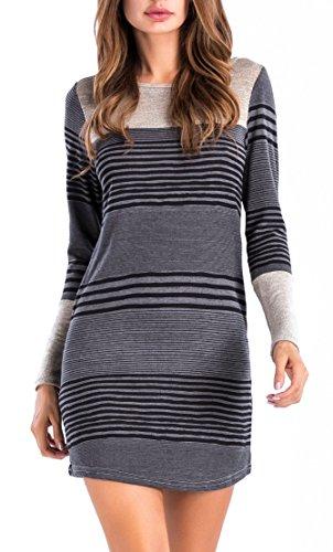 Sarin Mathews Womens Long Sleeve Pocket Dress Color Block Striped Knit Dresses