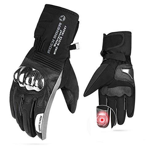 Men Motorcycle Winter Gloves TouchScreenGloves Windproof Riding Water Resistant Carbon Fiber ATV UTV Black Size L