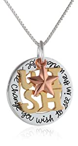 """Tri-Colored Sterling Silver with Yellow and Rose Gold Flashed """"Wish"""" Be The Change You Wish To See In The World"""" Star Charm Pendant Necklace, 18"""""""