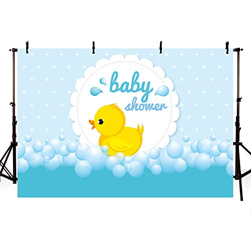 MEHOFOTO Cute Little Yellow Duck Theme Baby Shower Bubble Backdrop Ducky Party Event Decorations Banner Light Blue Cartoon Background Photography Pictures Photo Booth Props -