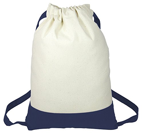 - Heavy Canvas Drawstring Backpack Two Tone Casual Daypacks for Travel, Sports, School, Navy, Set of 1