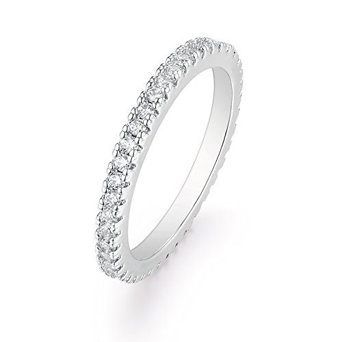 Barzel 18K White Gold or Rose Gold Plated Round-Cut CZ Single Row Eternity Ring (Silver, 6) ()
