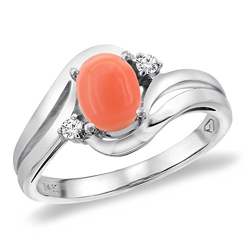 Sabrina Silver 14K White Gold Diamond Natural Coral Bypass Engagement Ring Oval 8x6 mm, Size 9