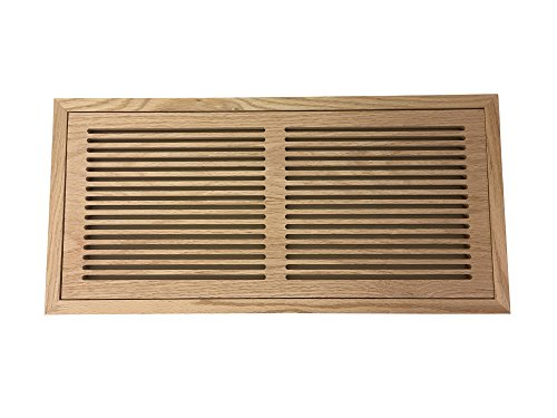 8 Inch x 24 Inch White Oak Hardwood Vent Floor Register Flush Mount with Frame, Slotted Style, (Air Vent Wood Grill)