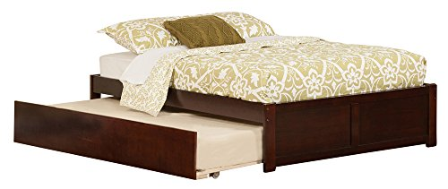 Atlantic Furniture Concord Flat Panel Foot Board with Urban Trundle Bed, Full, Antique Walnut