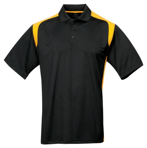 Tri-mountain Mens 100% Polyester UC Knit Polo Shirt. 145TM - BLACK / GOLD_XL