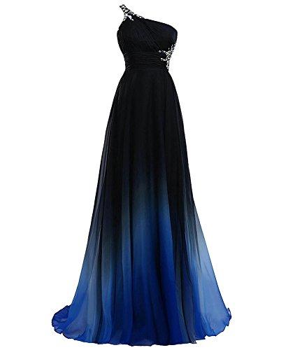 YipGrace Mujeres Color Del Gradiente Vestido De Bola Con Cuentas Azul
