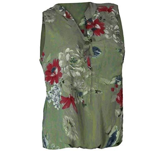 Elegant Blouse for Women, Outeck V Neck Button Tank Top Sleeveless Shirt Beach Vacation Floral Print Top Shirt (5XL, Green)]()