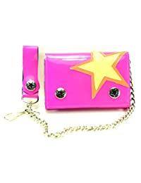 """Star Patch Tri-fold Bikers Wallet with 16"""" Chain Black"""