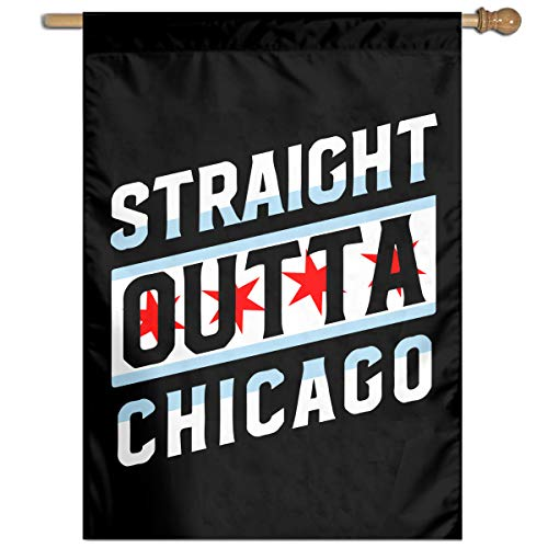 Straight Outta Chicago Welcome Yard Garden Flag Polyester Banners Patio Seasonal Holiday Family Flag Decorative House Yard Flag Garden Outdoor Decoration 27