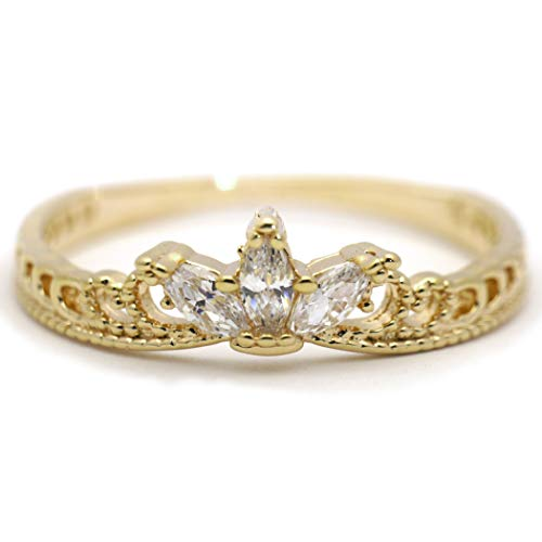 Gieschen Jewelers 'Olivia' 14K Yellow Gold-Plated Dainty Marquise CZ Tiara Crown Ring, Size 4