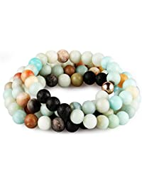 Amazonite Bracelet Necklace Lava Stone Essential Oils Diffuser Aromatherapy Cuff Wrap Handmade Stone Rock Beads Bracelet Necklace