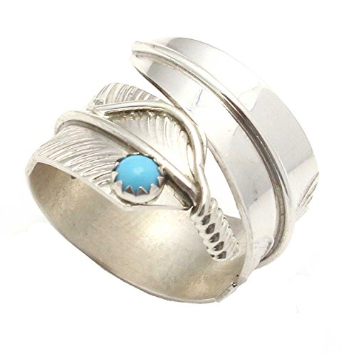 L7 Enterprises Silver and Turquoise Feather Ring by Navajo Artist Chris Charley