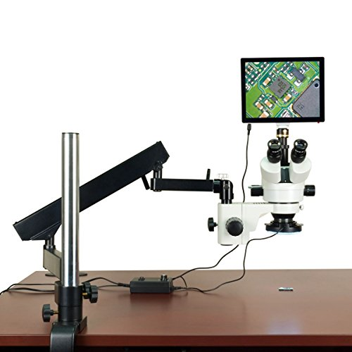 OMAX 3.5X-90X 5MP Touchscreen Stereo Microscope on Articulating Arm Stand with 144 LED Ring Light