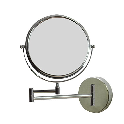 American Imaginations AI-645 8-in. W Round Chrome Wall Mount Magnifying Makeup Mirror With Dual 1x/5x Zoom