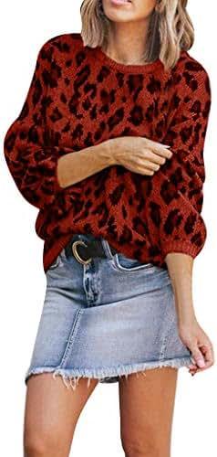 Women Crewneck Leopard Print Sweatshirt Long Sleeve Tops Blouse