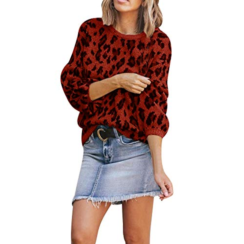 Blouses for Womens, FORUU Ladies Sales 2018 Winter Warm Under 10 Valentine's Day Best Gift for Girlfriend Fashion O-Neck Leopard Print Long Sleeves Sweater Easy Tops for $<!--$11.19-->