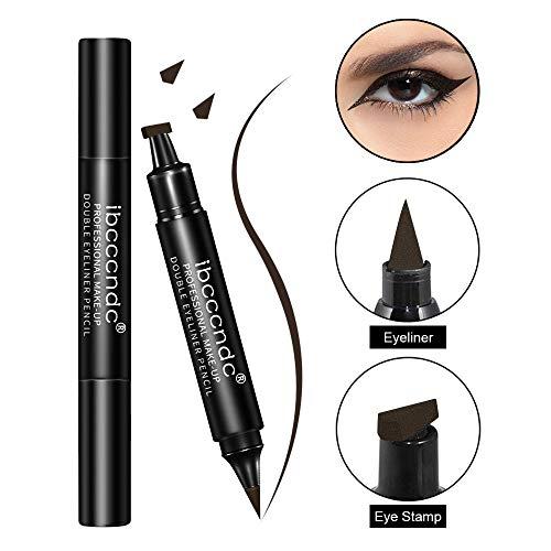 2 Pcs Eyeliner Stamp Waterproof Smudge Proof - Dual Ended Liquid Eye Liner Pen, Long Lasting & Sweatproof Makeup for Perfect Cat Eye Look (#05 Coffee)