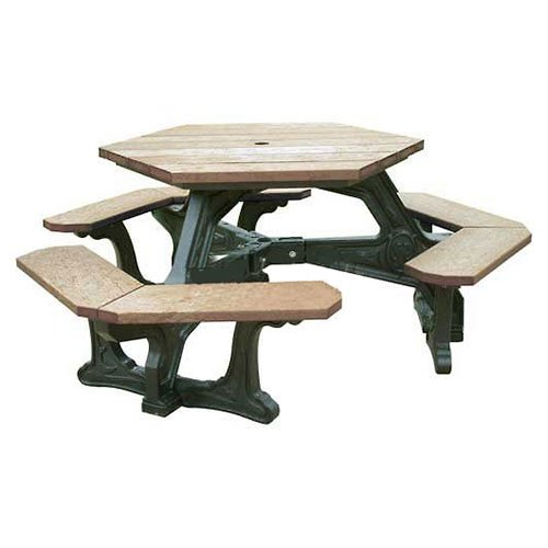 Plaza Hex Table, Weathered Top/Black Frame