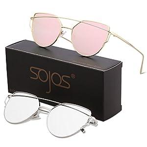 SojoS Cat Eye Mirrored Flat Lenses Street Fashion Metal Frame Women Sunglasses SJ1001 with SJ1001C2Gold/Pink and SJ1001C4Silver/Silver