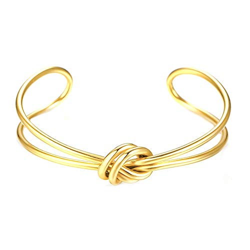 (FENDINA Women's 14K Gold Plated Stainless Steel Twisted Cable Knot Adjustable Cuff Bangle Bracelet)