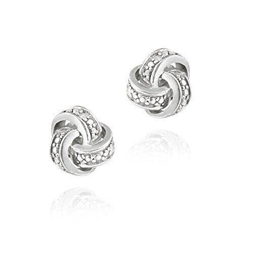 Sterling Silver Simulated Diamond Accent Love Knot Stud Earrings (Diamond Knot Ring)