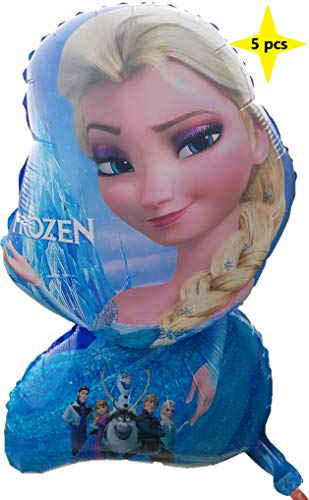 Frozen Elsa Balloon Birthday Party Theme (5 Pack), Bright Color Mylar 25 inch Helium/Air Balloons | Party/Birthday/Carnival/Festival/Graduation/Decoration -