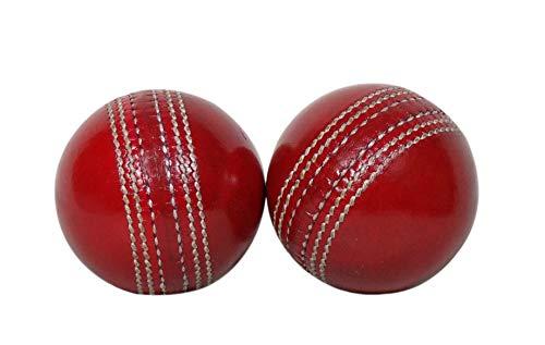 (KSZ TRADERS Cricket Leather Balls (Set of 2) A Grade Handstitched RED)