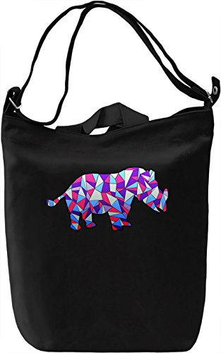 Geometric Rhino Borsa Giornaliera Canvas Canvas Day Bag| 100% Premium Cotton Canvas| DTG Printing|