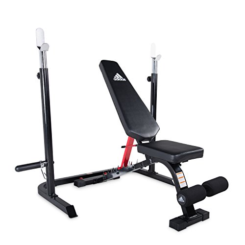 adidas Sport Utility Bench with Squat Rack, Red