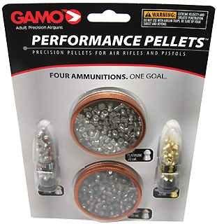 Gamo 63209285554 .22 Caliber Performance Pellets - Combo Pack (Platinum, Armor PBA, Raptor PBA, Rocket)