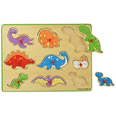 Bigjigs Toys Chunky Lift Out Puzzle - Dinosaurs, Multicolored: Toys & Games