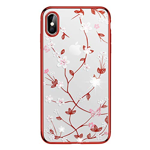 iPhone Xs Max Case,WATACHE Glitter Diamond Floral Branch Design Clear Back + Electroplated Hard PC Frame Scratch Resistant Slim Case for Apple iPhone Xs Max 6.5 Inch (Red) ()