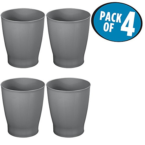 Wastebaskets Kids (mDesign Slim Round Plastic Small Trash Can Wastebasket, Garbage Container Bin for Bathrooms, Powder Rooms, Kitchens, Home Offices, Kids Rooms - Pack of 4, Slate)