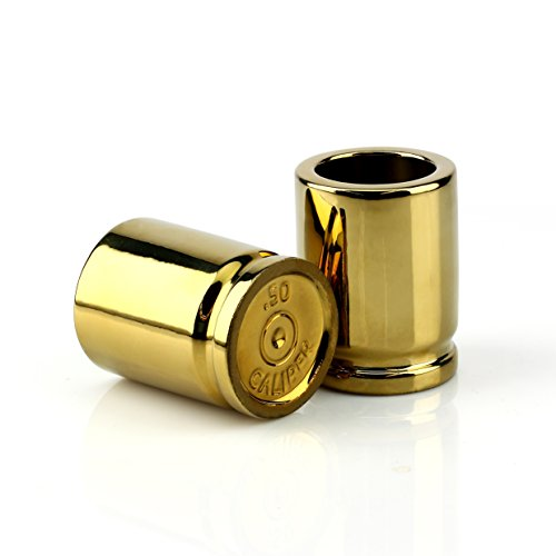 Barbuzzo 50 Caliber Shot Glass - Set of 4 Shot Glasses Shaped like Bullet Casings - Step up to the Bar, Line 'Em Up, and Take Your Best Shot - Great Addition to the Mancave - Each Shot Holds 2-Ounces by Barbuzzo (Image #12)