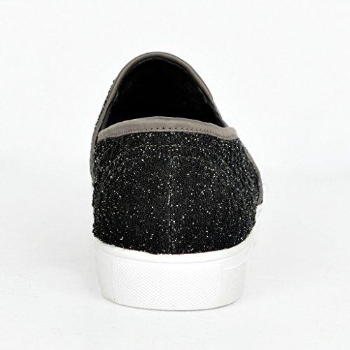 Kolnoo Damen Sneakers Slipper Slip-ons Glitzer Skaterschuhe Flats Weiße Sohle Schwarz EU39 ryjrsV5xO