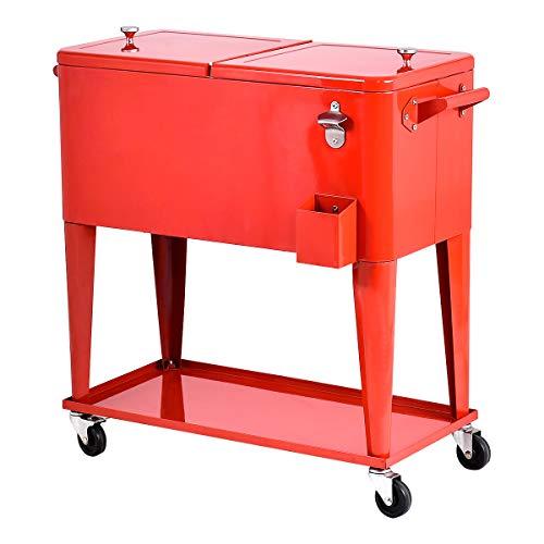 Giantex 80-Quart Cooler Beer Cart Outdoor Entertaining Rolling Party Steel Bar ()