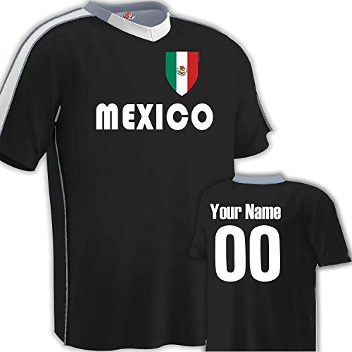 Customized Mexico Soccer Jersey Youth Medium in Black and White