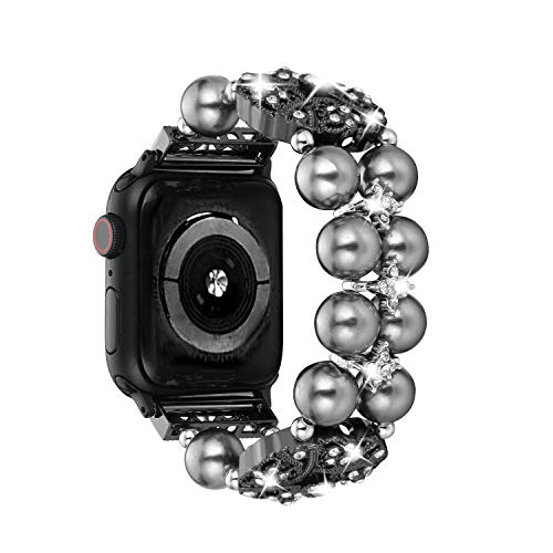 Ritastar Apple Watch Band Bracelet, Metal Rhinestone Bling Replacement Iwatch Wristband, Pearl, Diamond and Beads Band Jewelry Wristband 38mm 40mm Compatible Iwatch 4/3/2/1 Series, - Wrist Watch Star Diamond