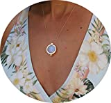 Women Necklace Locket 3 Natural Gemstones Set Green/White/Rose Pendant Jewelry 18''