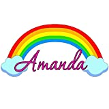 """Custom Name Rainbow Wall Decal Nursery Personalized Wall Decals For Girls VWAQ-RB2 (20"""" Wide)"""